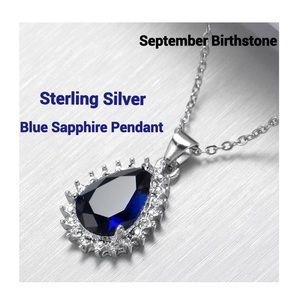 Jewelry - 925 Sterling Silver Blue Sapphire Pendant Necklace